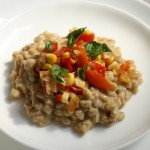 Farro risotto with summer corn.