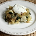 Spaghetti squash with chard and ricotta cream.