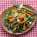 Fall salad with butternut squash, arugula and blue cheese.