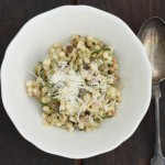 Pasta with zucchini, pine nuts and Parmesan.