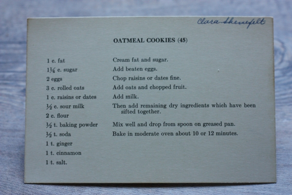 recipe for old-fashioned oatmeal raising cookies