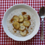 Creamy overnight oatmeal with brown sugar bananas.