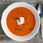 Moroccan-inspired roasted carrot-bell pepper soup.