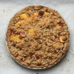 Bourbon peach crumb-top pie.