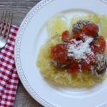 Spaghetti squash and meatballs with quick tomato sauce.