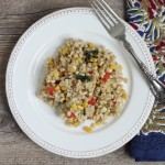 Barley pilaf with vegetables.