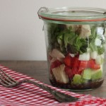 Beautiful roast chicken salad in a jar.