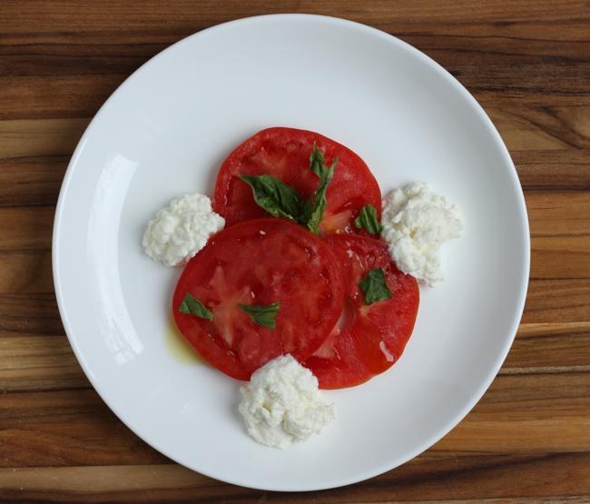 caprese salad + homemade ricotta