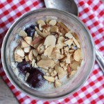 Cherry almond oatmeal in a jar.