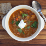 Warm spiced lentil soup with squash.