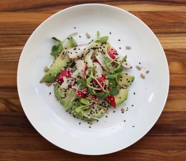 radish and avocado salad with toasted seeds recipe | writes4food.com
