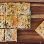 Summery zucchini and cheddar pizza.