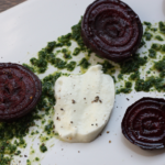 Winter caprese salad with beets and chard pesto.