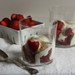 Strawberries with sugared cream.