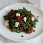 Lentil salad with chard and tomatoes.
