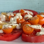 Summer tomato salad with tahini dressing.