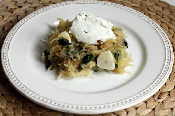 Recipe for spaghetti squash with Swiss chard, ricotta cream and walnuts | writes4food.com