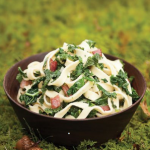 Pasta with bacon, kale and Fontina.