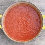 Roasted red pepper-tomato soup.