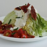Wedge salad with roasted shallot blue cheese dressing.
