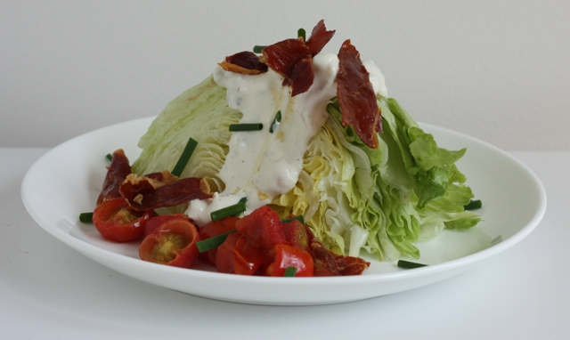 a better wedge salad: with roasted tomatoes and roasted shallot blue cheese dressing | writes4food.com