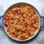 Rice pilaf with summer vegetables.