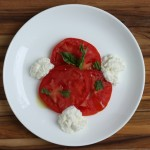 Caprese salad with homemade ricotta.