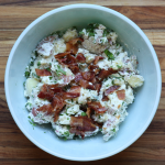 smashed potato salad with bacon and fresh herbs recipe | writes4food.com