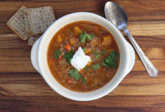 red lentil soup with butternut squash and warm spices recipe | writes4food.com