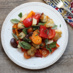 Heirloom bean and tomato panzanella salad.