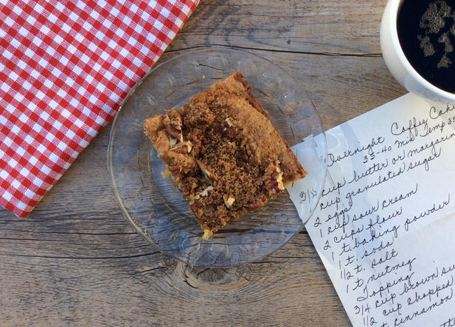 Overnight Cinnamon Pecan Coffee Cake recipe | writes4food.com